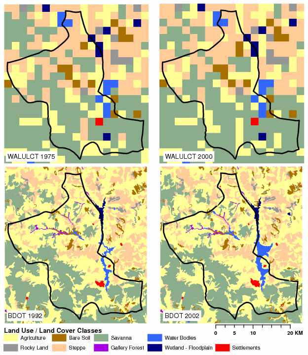 Land-Use/Land-cover Change for Kongoussi: 1975 and 2000 (top) and 1992 and 2002 (bottom) - Source: West et al. submitted
