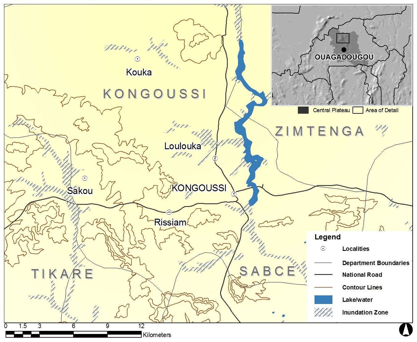 Map: Study Region in Inset Map of Northern Central Plateau, BF