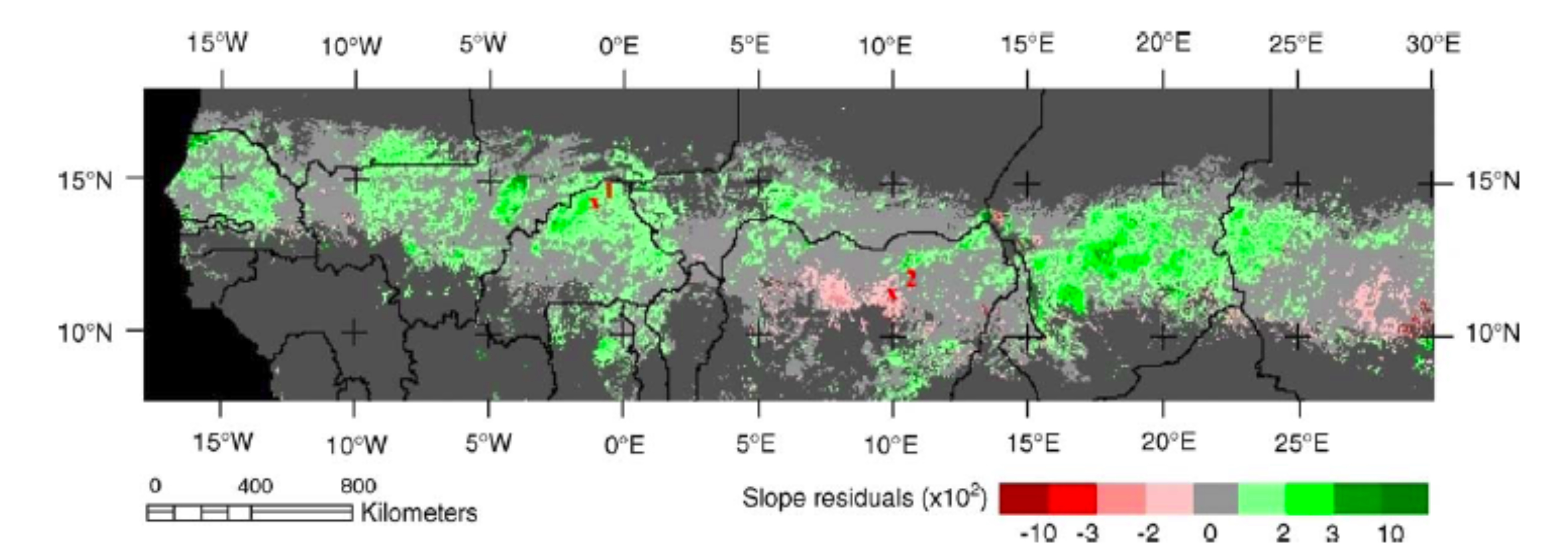Greening (green) and browning (red) of the West African Sahel - Source: Herrmann, Anyamba and Tucker, 2005